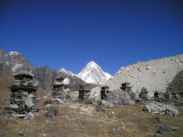 Series of Stone Cairns In Nepal